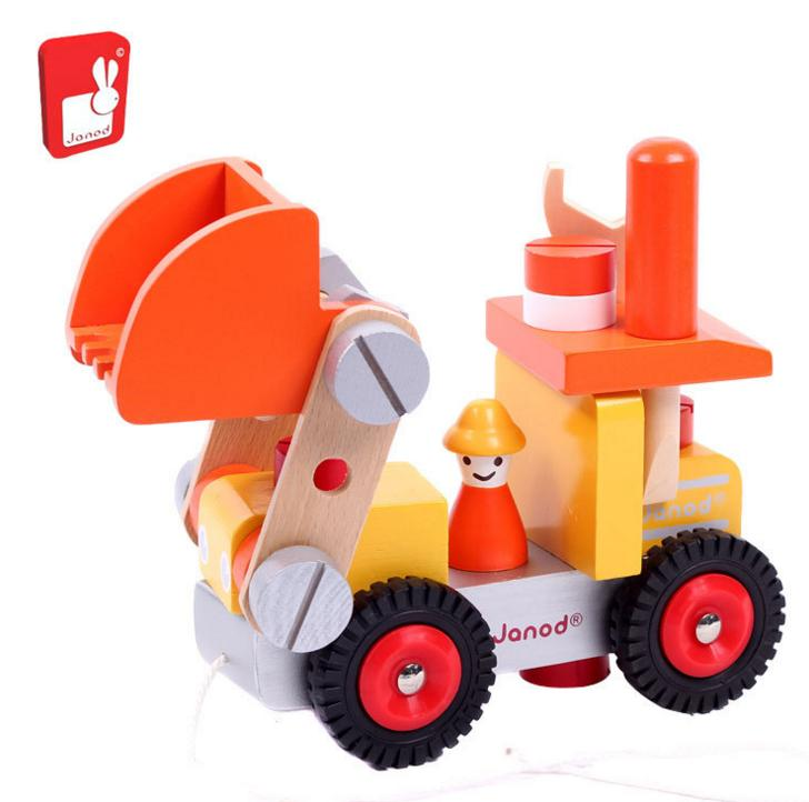 2 colors Brand wooden Engineering vehicle block toys/ Kids Children assemble 3D truck block with nut  tools for educational toys baby wooden knock the ball down the ladder block toys assemble building block for kids child educational toys free shipping