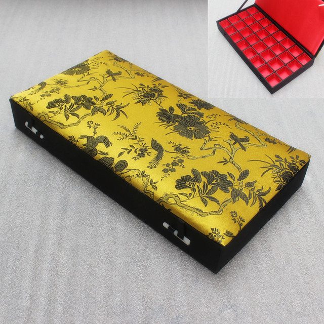 Boutique Floral 32 grid Ring Storage Box Fabric Silk Brocade Wood 32