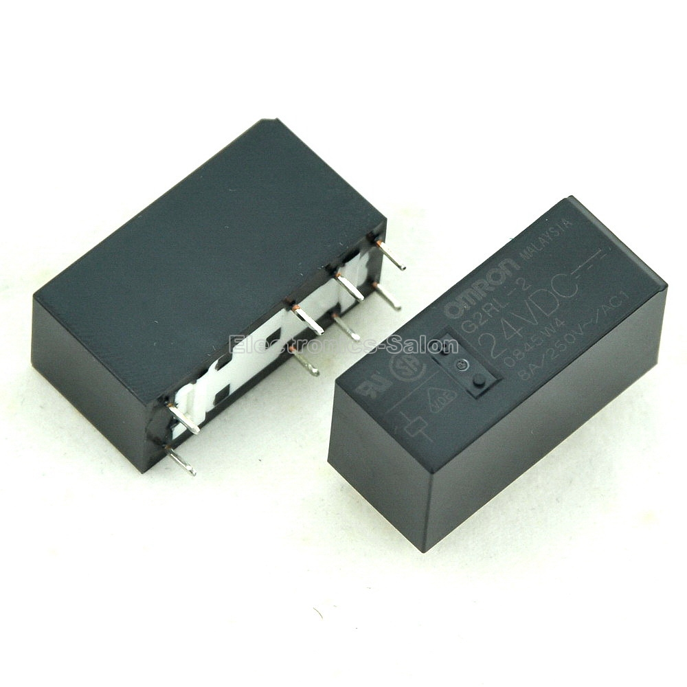 ( 10 Pcs/lot ) G2RL-2 24VDC 24V High Capacity Low Profile DPDT 8 Amp Power PCB Relay.