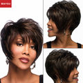 MAYSU Classic Curly Short  Human Hair Wigs For Black Women Hand Made Mono Top antisepsis Cap Customized 14 Colors Free Shipping
