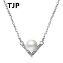 TJP Fashion 925 Sterling Silver Pendants Necklace Black Ball Shiny Cubic Zirconia Stones V Shaped Women Jewelry