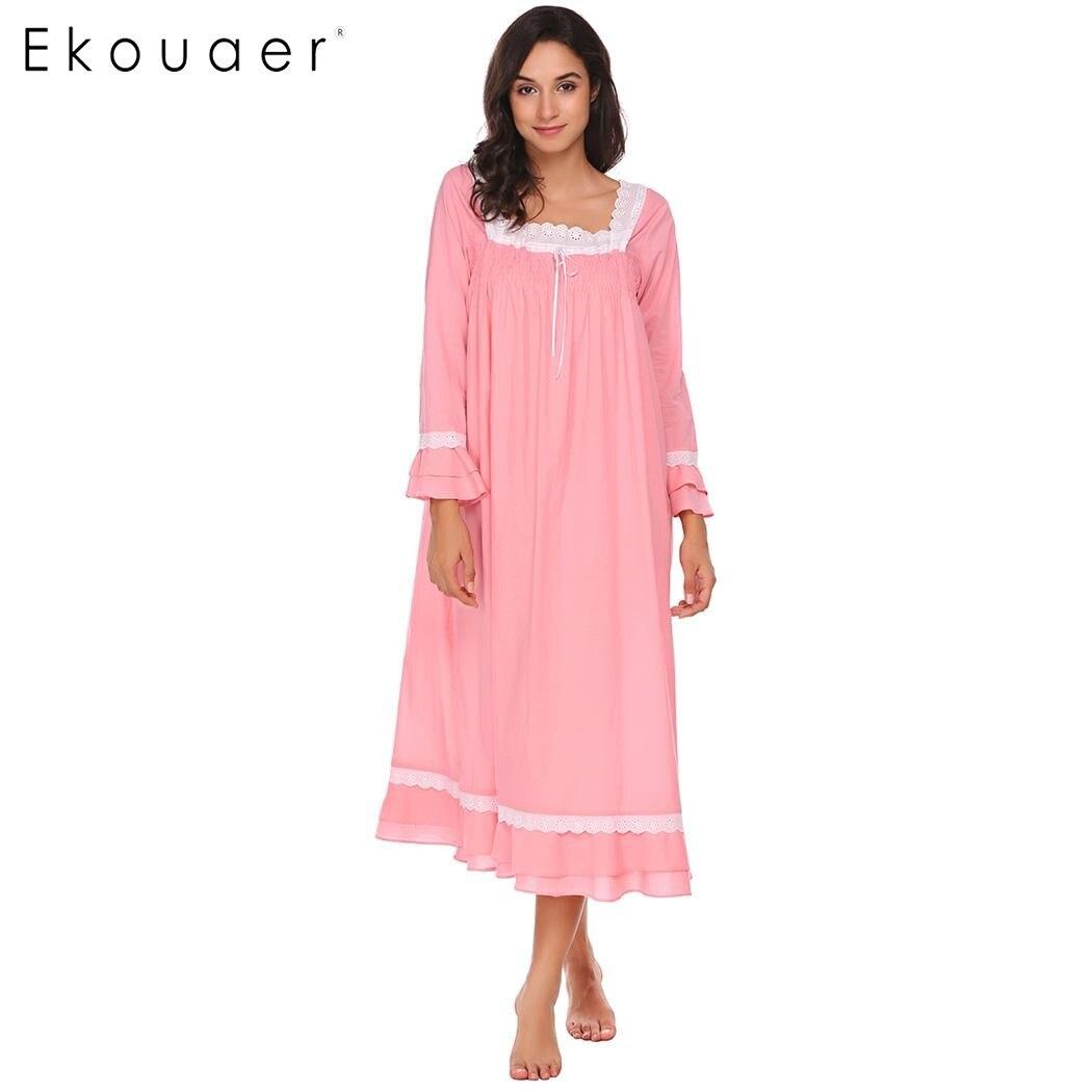 Ekouaer Lace-Trimmed Nighties Sleepwear Vintage Elegant Square Neck Long Sleeve Nightwear Casual Loose Victoria Nightgown