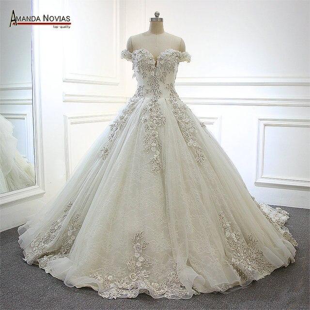2019 Wedding Gown Design: 2019 Newest Design Real Amanda Novias Off Shoulder Luxury