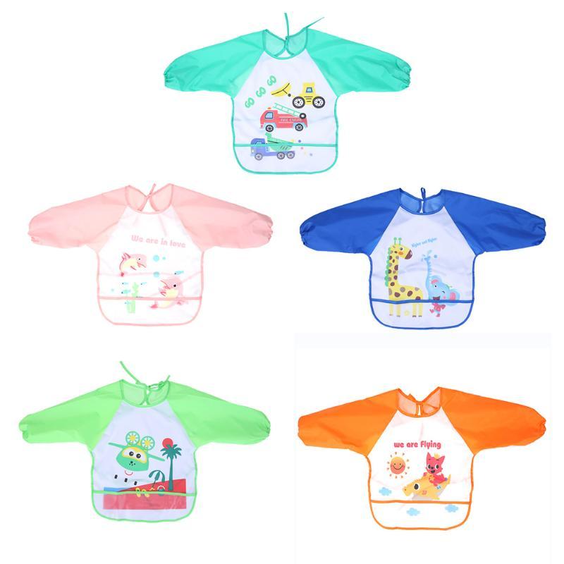 Baby Bibs Children Cartoon Drawing Eating Feeding Cloth Waterproof Long Sleeve Infant Bib Apron Baby Burp Cloths