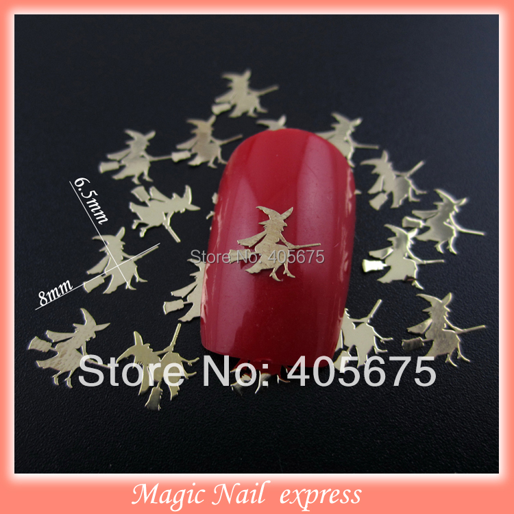 MNS345 New 3d nail design halloween sorceress metallic ...