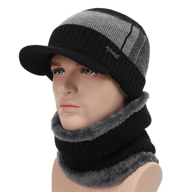 800e9df71cf27 Two Pieces Beanie Hat Scarf Set Knit Thick Winter Hat Cap Men Women Warm  Fleece Lined
