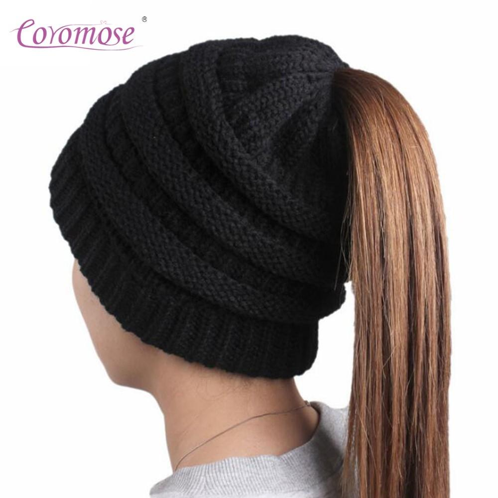 Coromose Female Woolen Yarn Winter Hat with Braid Hole Autumn Warm Exquisite Cap Fashionable Christmas New Year Gift Stylish FO