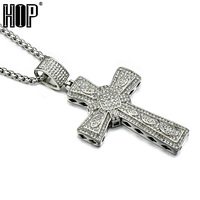 HIP Punk 316L Stainless Flower Steel Miro Pave CZ Cross Pendants Necklaces For Men Jewelry