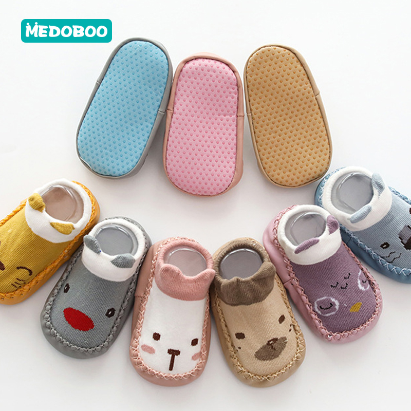 Medoboo Cartoon Baby Socks Rubber Soles Anti slip Cotton Baby Floor Socks Soft Learning Walk Newborn Shoes Socks 20 in Socks from Mother Kids