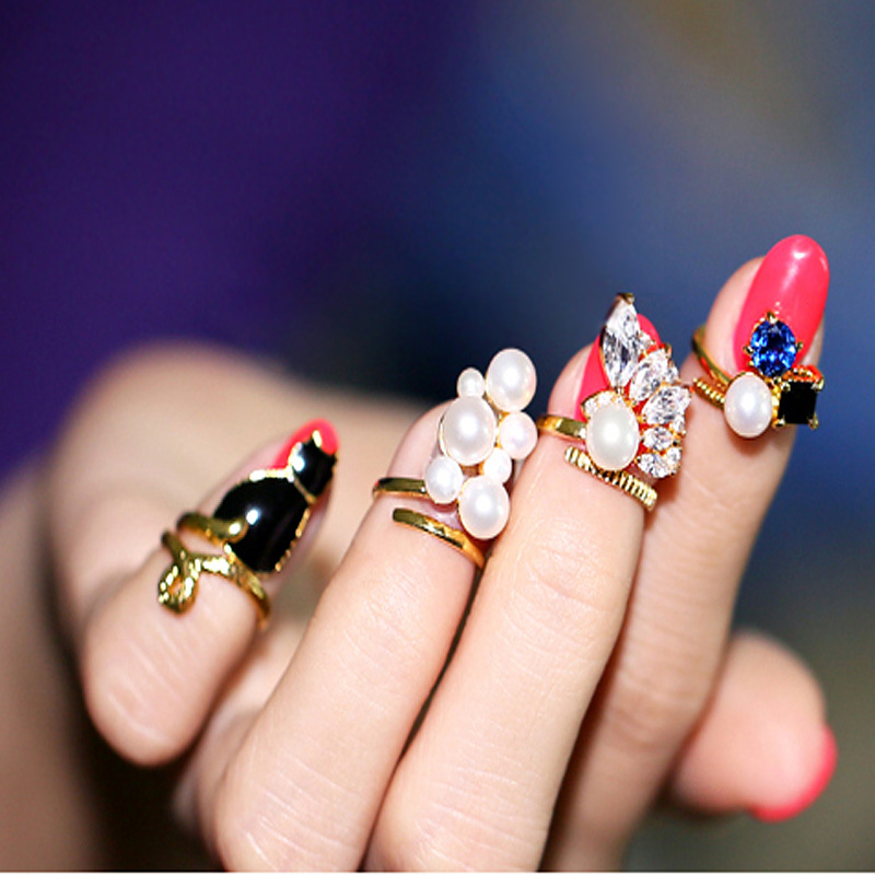 New Fashion High Quality 1 Set Black Cat Simulated-Pearl Zircon Nail Rings Set For Women Anillos Crystal Resizable Knuckle Rings