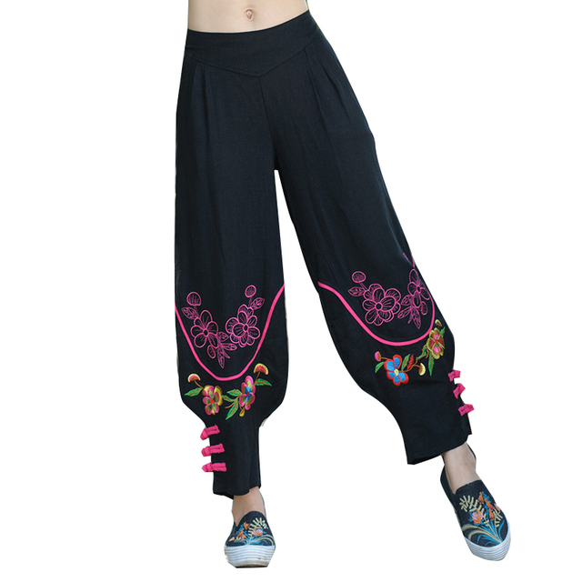 6fd510a8211e 2019 Women Chinese Traditional Embroidery Harem Pants Black Wide Leg  Bloomers Elastic Waist Cotton Linen Pants Casual Trousers Y