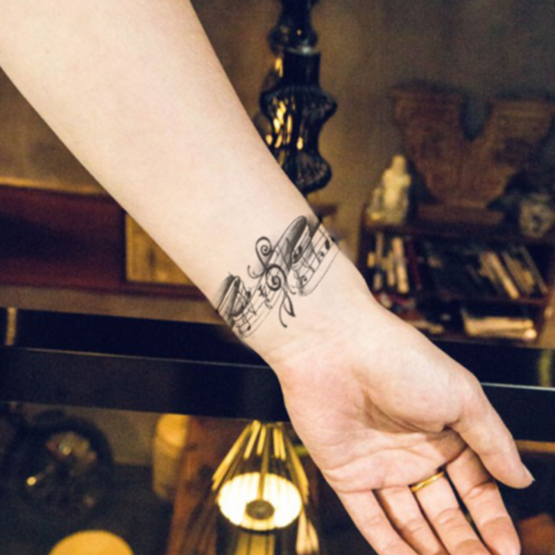 Waterproof Temporary Tattoo Stickers Cute Black Grey Music Notes Design Body Art Man Woman Sex Products Make Up Styling Tools