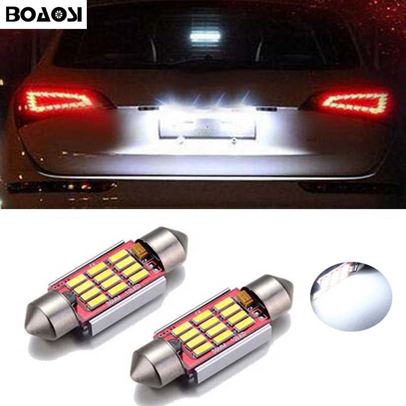 BOAOSI 2x Car Led Error Free 36mm C5W 4014 SMD Lamp 12V License Plate Lights For Volkswagen VW Golf 3 4 5 6 Passat 3c B6 B5 Polo xenon white 1 50 36mm 6418 c5w canbus led bulbs error free for audi bmw mercedes porsche vw interior map or dome lights