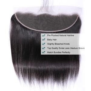 Image 3 - Tuneful reta cabelo humano 3 pacotes com frontal malaio remy cabelo pré arrancado 13x4 fechamento frontal do laço com pacotes