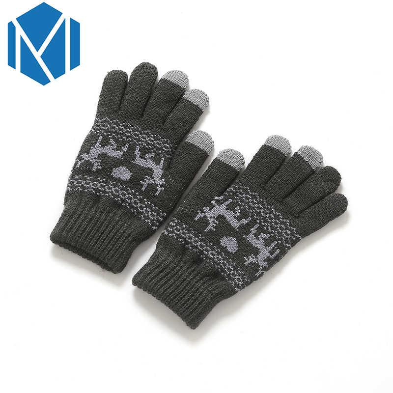b0de01533 ... Miya Mona Knitted Black Gloves for Women Men Soft Warm Winter Moose Full  Finger Gloves Deer ...