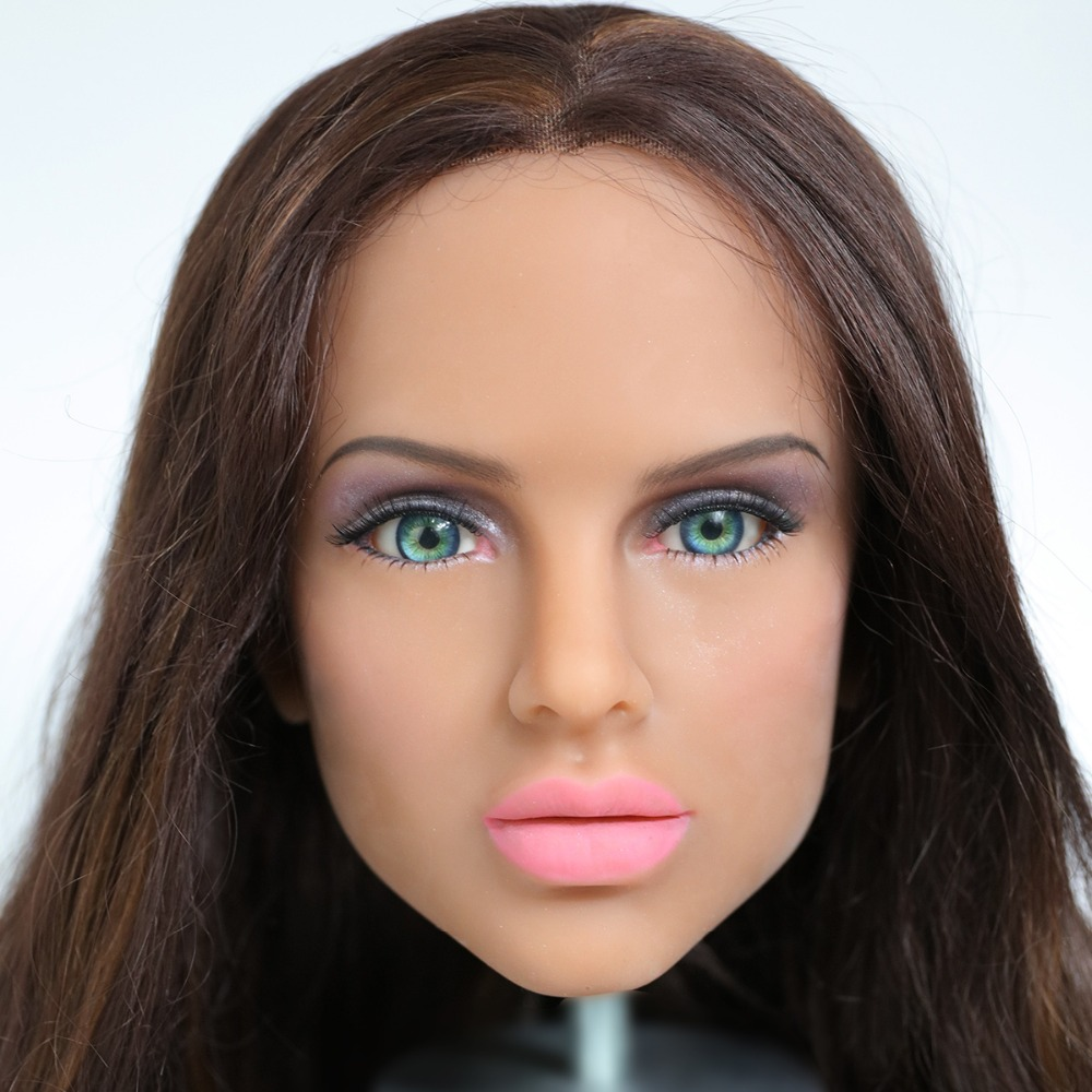 2017 Newest Top Quality Head 75# Big Doll's Head Tan Skin Sex Doll Head for Silicone Sex Doll Suitable For More Than 140cm Doll