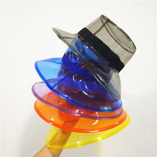 Solid Transparent Women s Buckets Hats Caps Girls Gorras Ladies PVC Beach  Sun Visor Waterproof Rain Hat Plastic Wide Brim Caps ff608e3c40ff