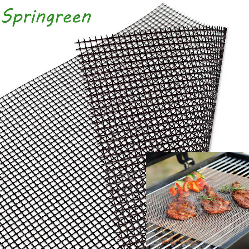 Springreen 40*30cm Non-stick BBQ Grill Mesh Sheet Barbecue Mat for Grilled Vegetables, Fish, Fajitas, Shrimp Nonstick Grill Mats