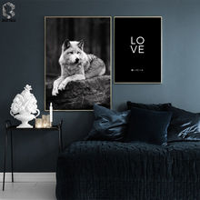 Scandinavian Black White Poster Nordic Canvas Wall Art Print Fox Painting Decorative Picture LOVE Home Decoration свитшот print bar megan fox black glamour