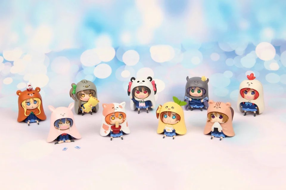 Free Shipping 9pcs Cute Anime Love Live! X Himouto! Umaru-chan Cosplay Boxed PVC Action Figure Collection Model Toy (9pcs set) live love 45cm black chip double hair ponytails cosplay costume wig free shipping