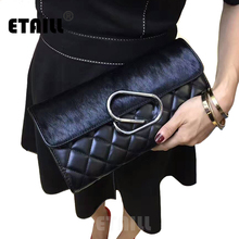 Diamond Lattice Black Ladies Horsehair Luxury Quilted Bag with Chain Famous Brand Chain Bags Plaid Clutch Crossbody Shoudelr Bag