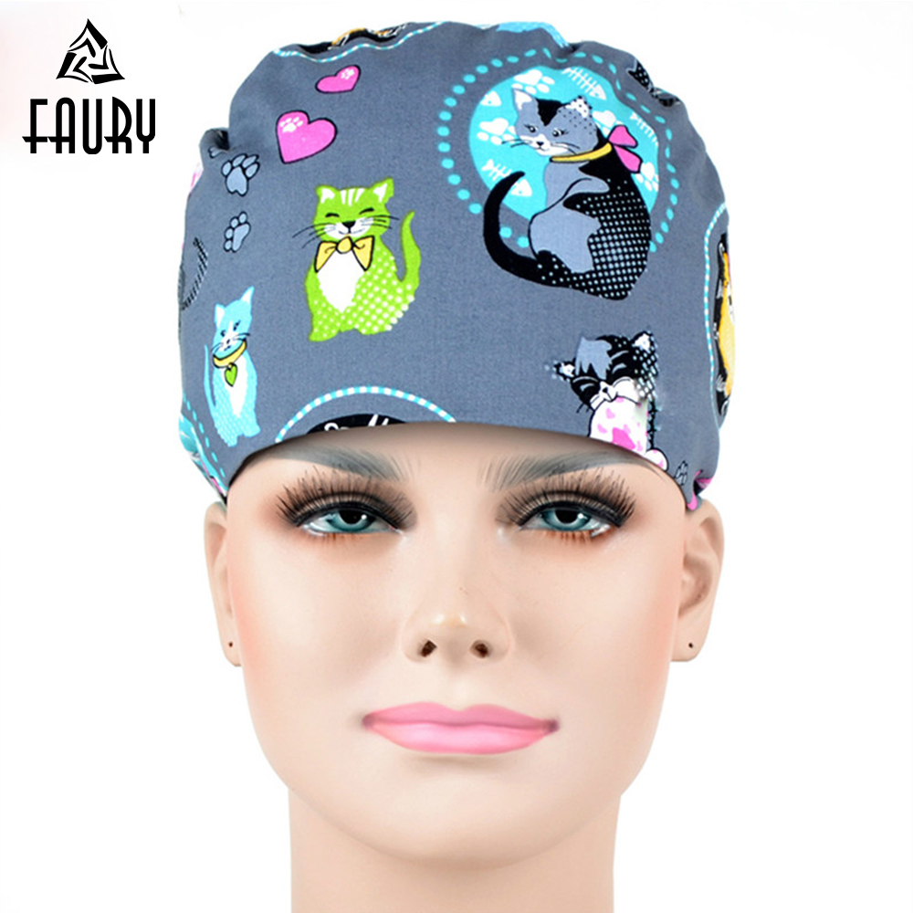 Novelty & Special Use Honest Surgical Cap Medical Scrub Caps Cat Printing 100% Cotton Hospital Work Hats Hospital Beauty Doctor Nurse Accessary Women And Men Finely Processed