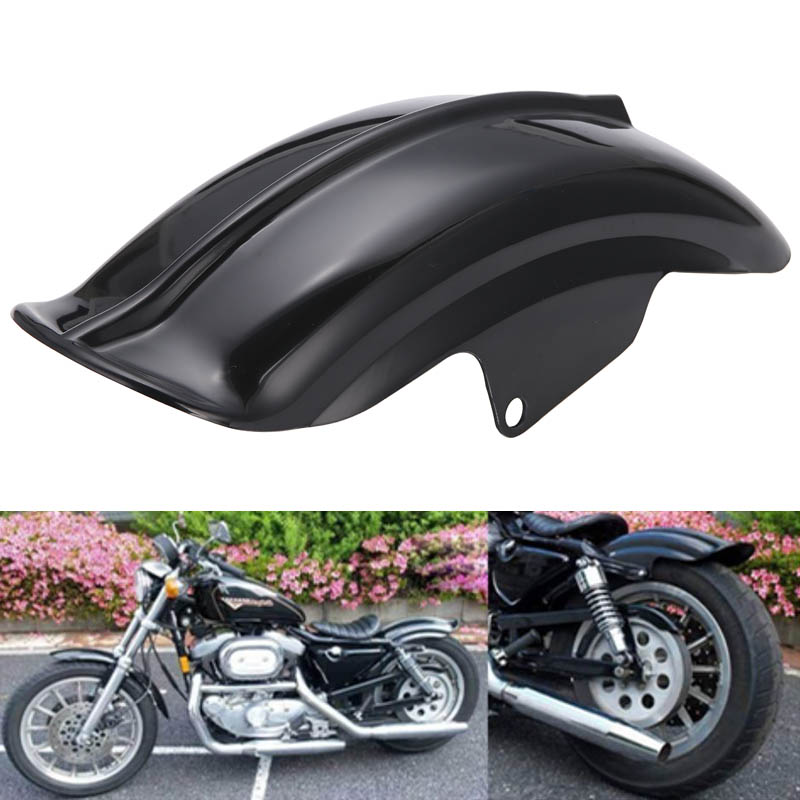 Black Plastic Motorcycle Rear Mudguard Fender for Harley Sportster Solo Bobber Chopper Cafe Racer 883 883R 1200 1994 - 2003 motorcycle rear fender rail support bracket mount holder for harley cruiser chopper cafe racer old school bobber touring