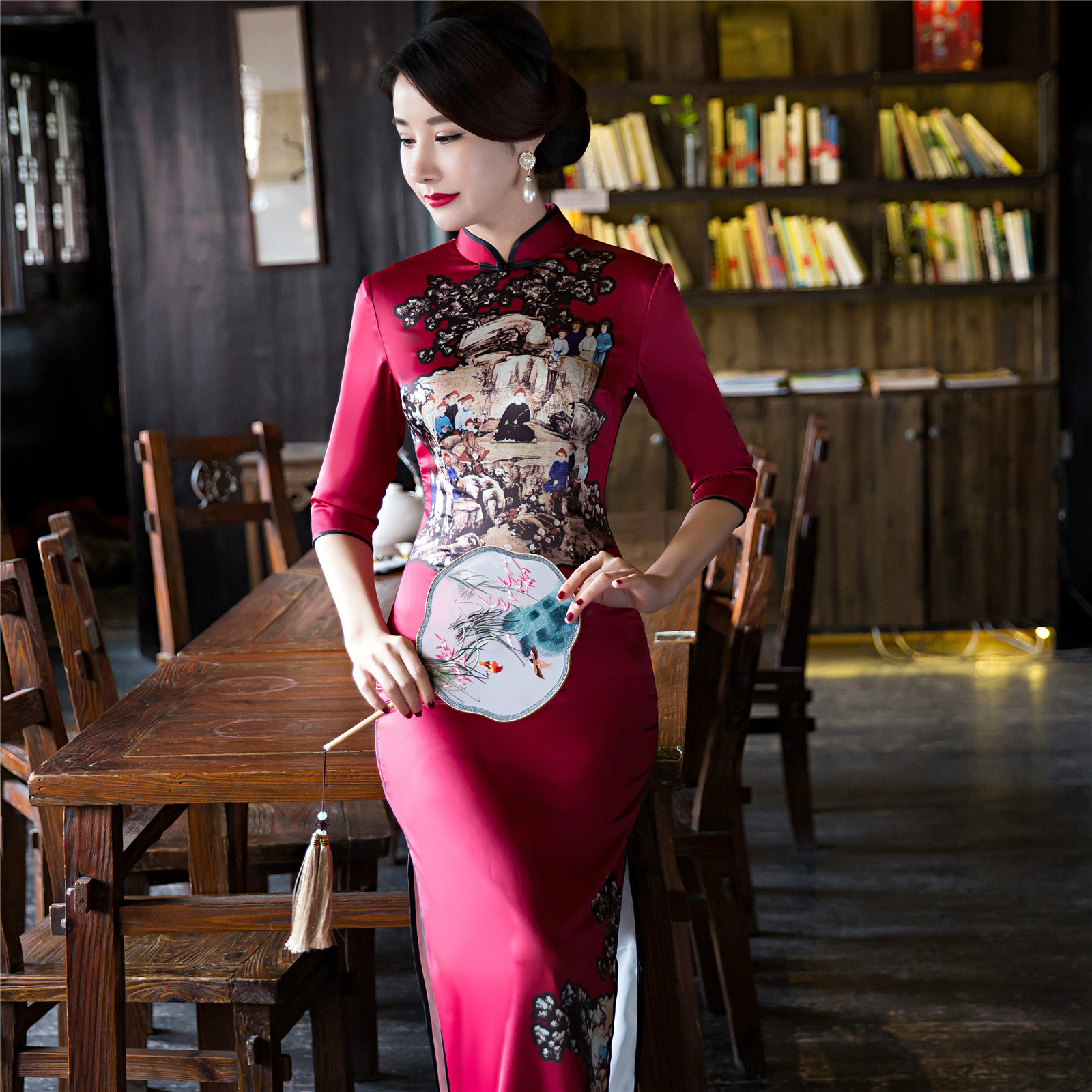 Women long qipao long sleeve silk with embroidery cotton cheongsam jpg  1600x1600 Chinese long sleeve qipao f77fb0ca25c9