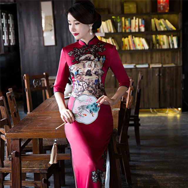 women long qipao long sleeve silk with embroidery cotton cheongsam dress  traditional chinese dress plus size red 3eeafe67ef0b