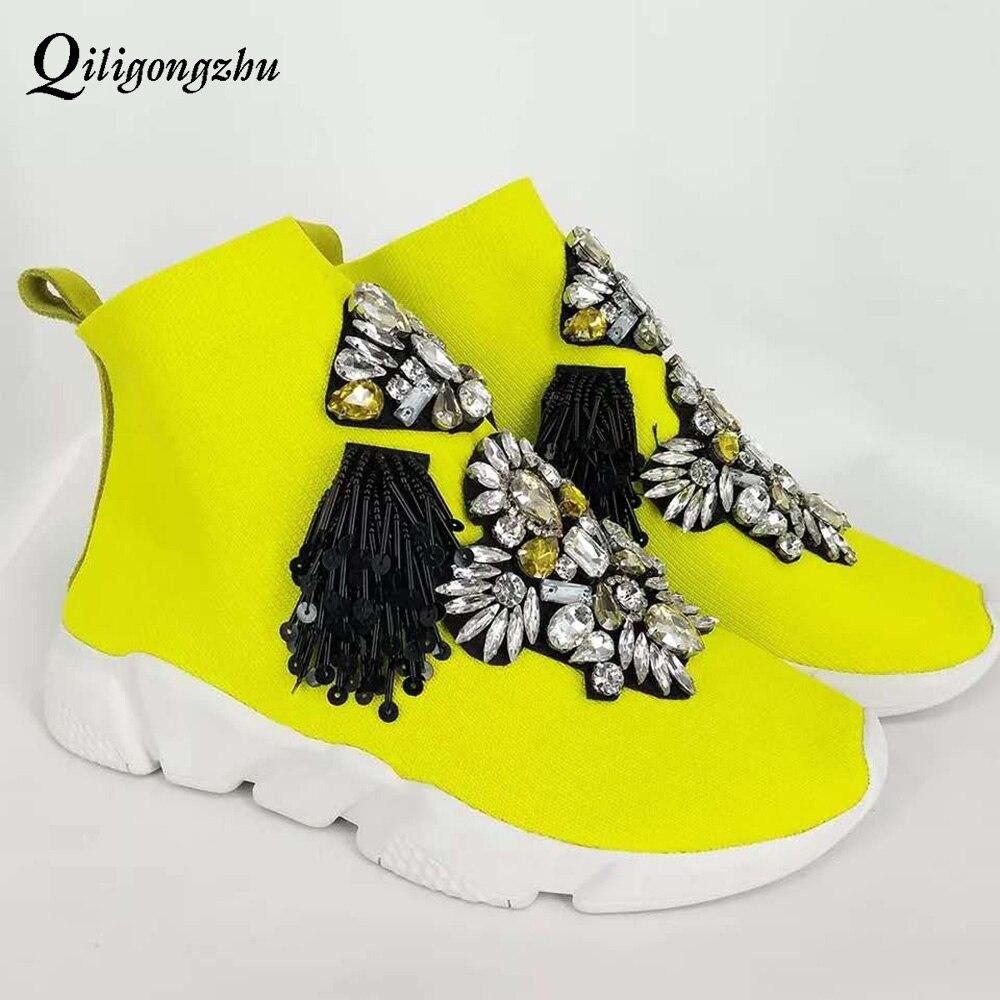 Эластичные трикотажные кроссовки, Стразы ручной работы, дышащие женские ботинки на платформе, повседневная спортивная обувь, Стрейчевые тк