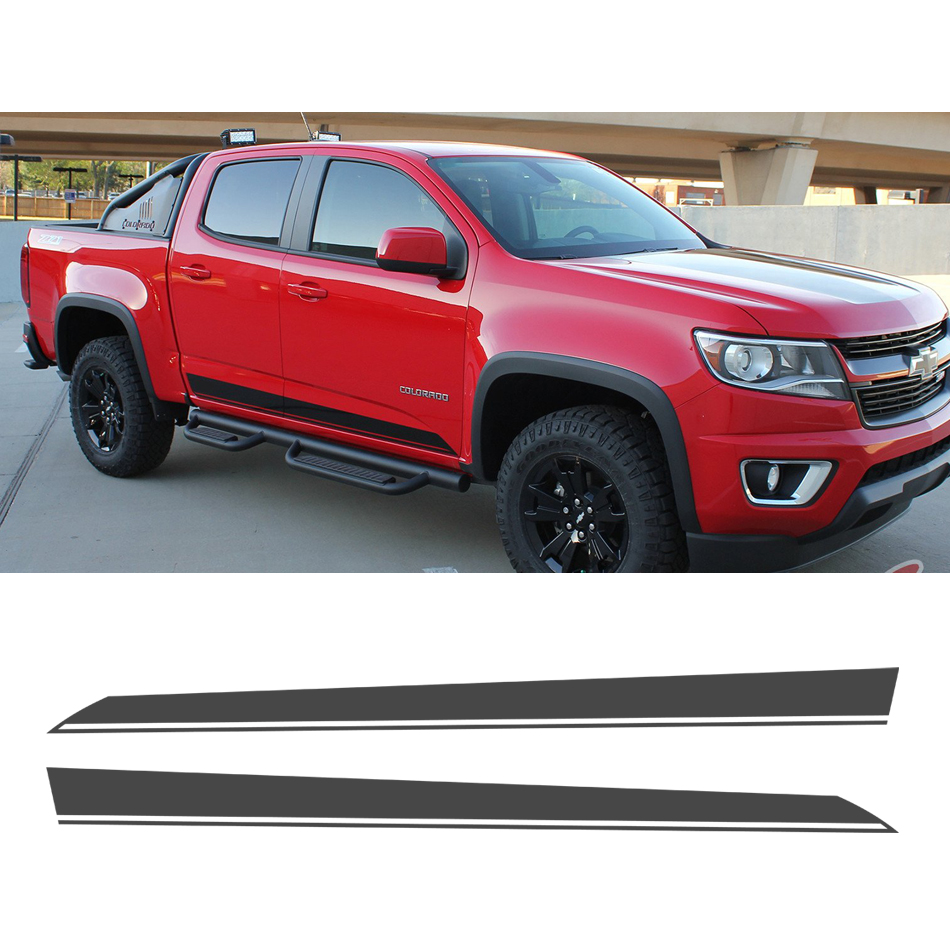 free shipping 2PC side and tail stripe graphic Vinyl sticker for Colorado double cab 2015 on decals