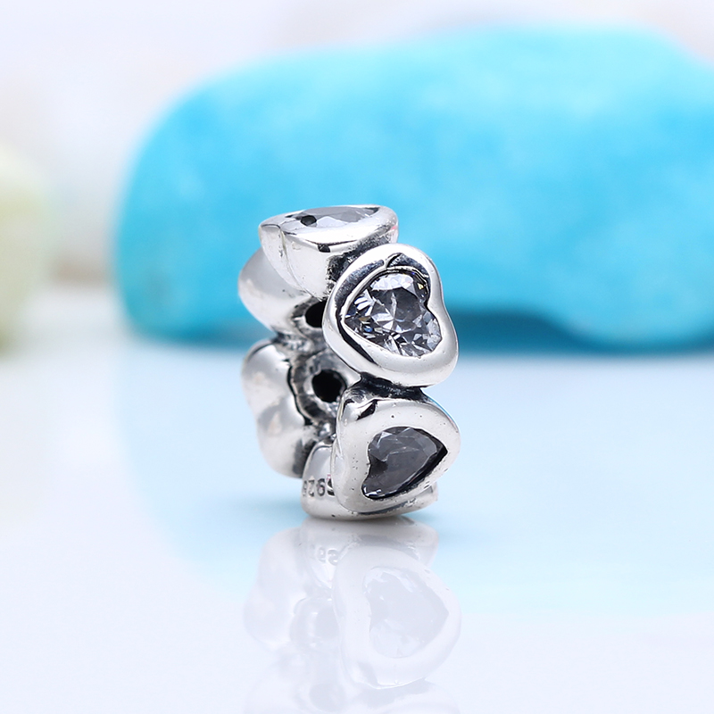 New 100% 925 Sterling Silver Fit Original Pandora Bracelet Clear Sparkling Heart Spacer DIY Charms Beads for Jewelry Making Gift