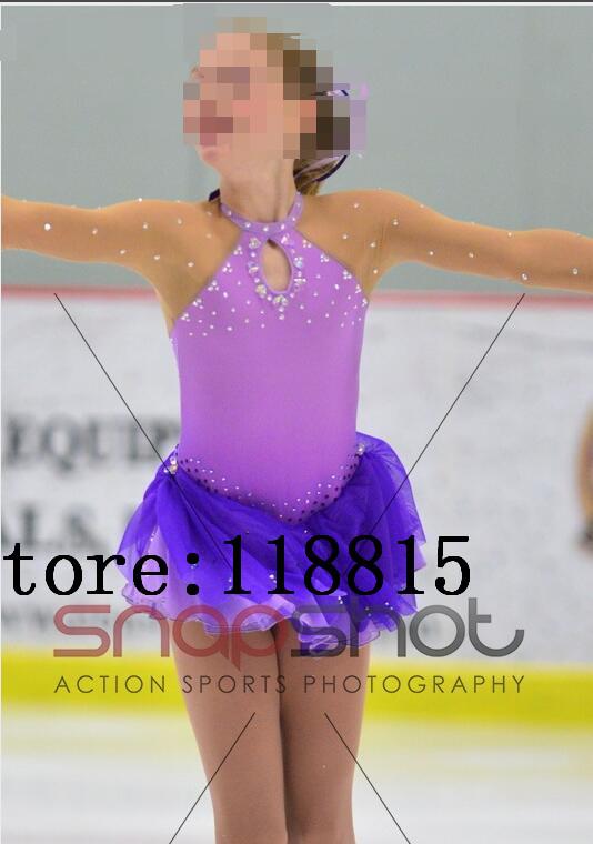 V/êtements De Patinage Faits /À La Main Patinage Figure Robe Violet Femmes Filles Longueur Manches Danse Costumes Jupe De Glace Haute /Élasticit/é