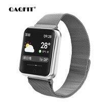 Купить с кэшбэком QAQFIT P68 Smart Watch Color Screen Bluetooth Sport Band Milanese Metal strap Smart Bracelet Watch for Apple IPhone IOS Android
