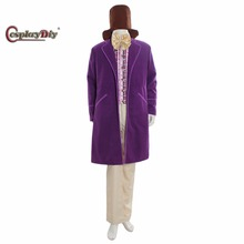 Cosplaydiy 1971 Purple Charlie and the Chocolate Factory Gene Wilder as Willy Wonka Cosplay Costume Custom Made D1109