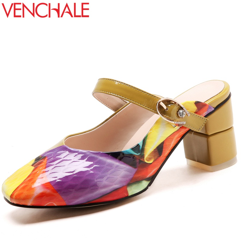 VENCHALE 2018 mules shoes summer new colorful cow leather slides heel height 6.5 cm square heel outdoor casual women slippers venchale 2018 new med square heel cow