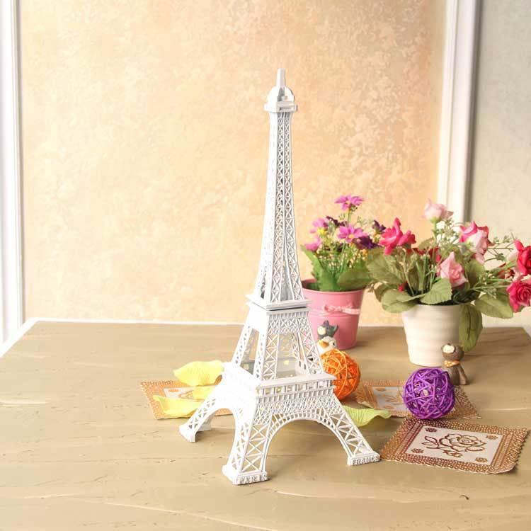 30cm Shinning White Tone Paris Eiffel Tower Figurine Statue Vintage Alloy Model Eiffel Tower Home Decor