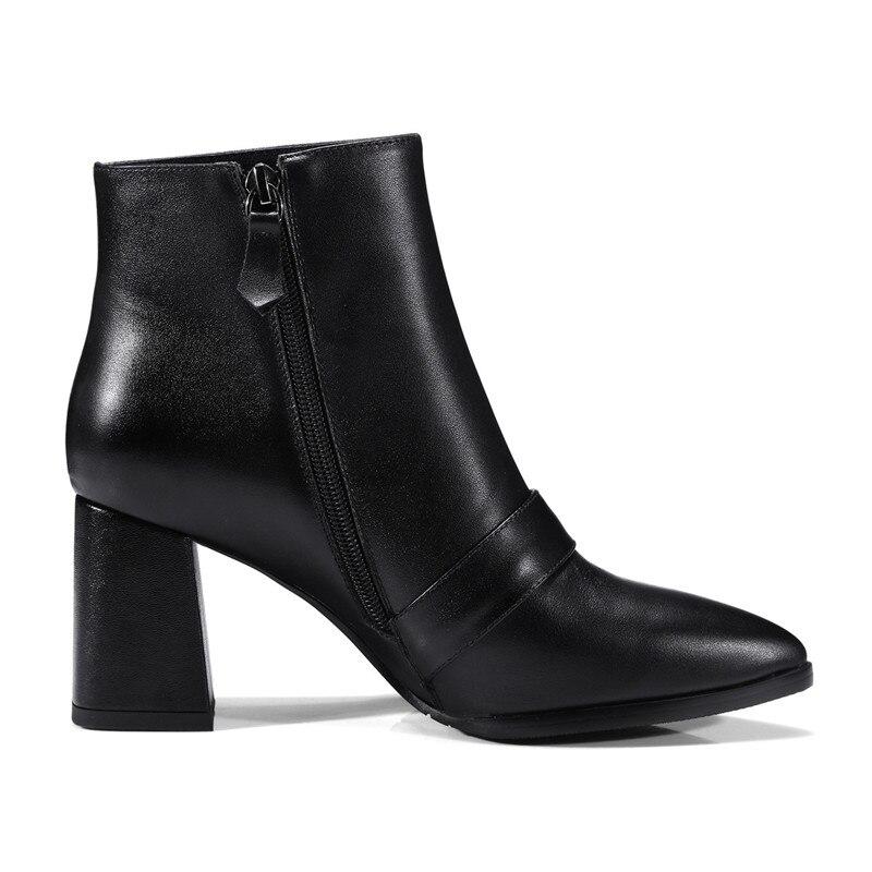 Cuir Qualité Chaussures Bas Cheville Noir 2018 Fn130 Hiver Dames Épais Haute Véritable De Nouveau Talon Automne Bottes Marque Femme Pritivimin xq07gpw