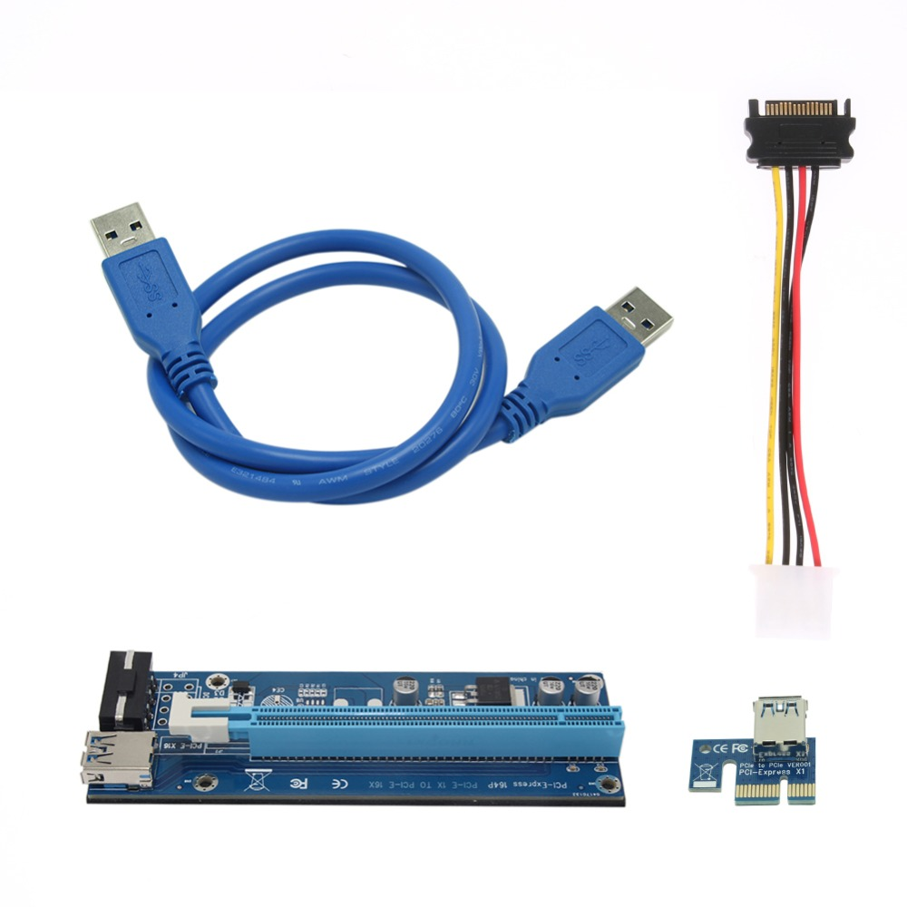 60cm PCI-E PCI Express Riser Card 1X to 16X USB 3.0 Extender Card Adapter SATA 15Pin to 4Pin Power Cable for BTC Mining 60cm usb 3 0 pcie riser card pci e express 1x to 16x extender riser card usb adapter sata 15pin 6pin power cable for btc mining