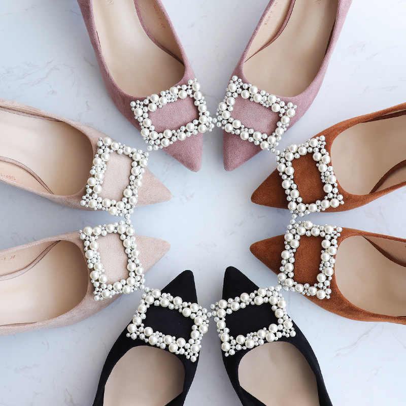 5dcc0273e22d pearl beading buckle high heels shoes woman chunky heel flock pumps ladies  designer pearl shoes chaussure