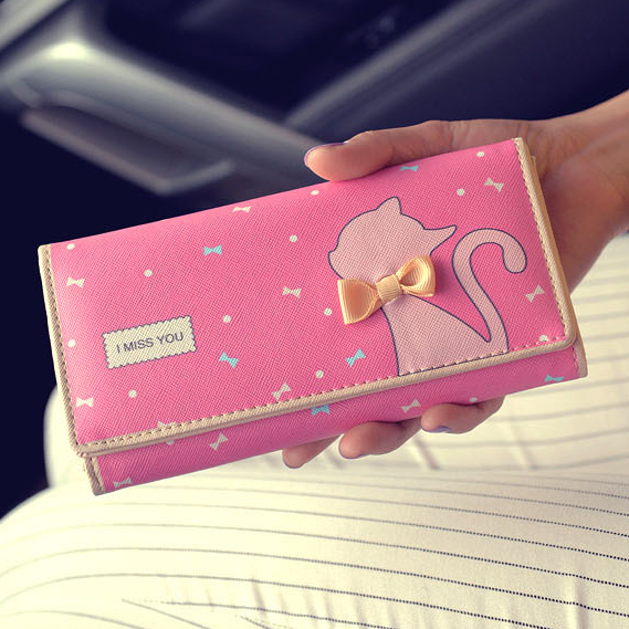 d011f674a24 Lady Purses Women Wallets Cat Bow Design Long Cards ID Holder Girls Wallet  Clutch Coin Purse Money Bag Handbag Carteira Feminina-in Wallets from  Luggage ...