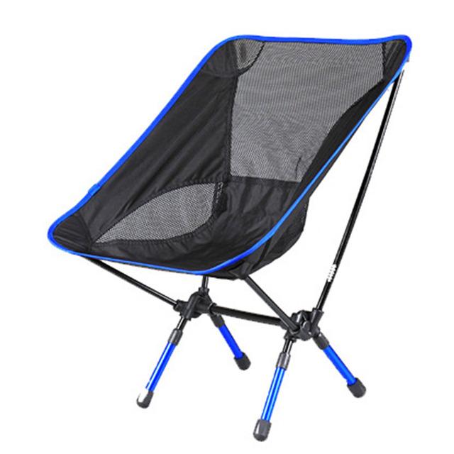 Super Light Respirável Cadeira Dobrável Cadeira de Encosto para Praia Banho de Sol de Pesca Ao Ar Livre Portátil Churrasco Piquenique Fezes Cadeira Do Partido-Azul
