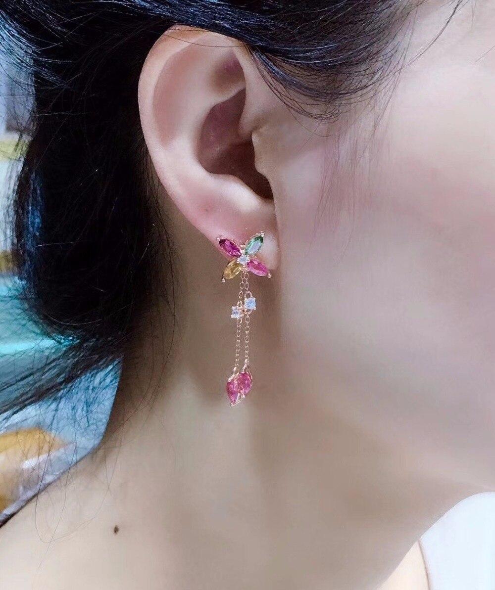 여성을위한 uloveido 천연 전기석 귀걸이, 925 스털링 실버, 2.5*5mm * 12 pcs 보석 웨딩 약혼 보석 fr118-에서귀걸이부터 쥬얼리 및 액세서리 의  그룹 3