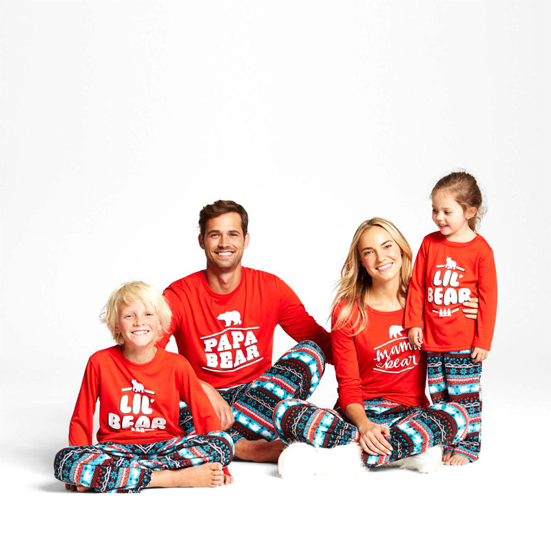 Christmas Family Matching Casual Pajamas Mother Father Daughter Son Clothing Set Family Jumpsuits Look for Christmas Suits