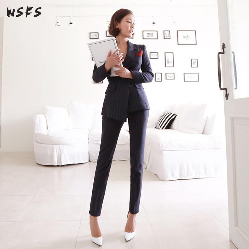 Pièces D'affaires Coréenne Unique Élégant Costume Lady Black Costumes Poitrine Rayé Noir Ensemble Veste 2 Bandage Office Femmes Automne Pantalons De XBd8x