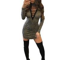 Women Gray Mini Dress Sexy Long Sleeve Autumn Dress Hollow Out Club Party Dress Party Dresses