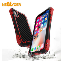 Heavy Shockproof Case For Iphone X 10 Aviation Aluminum Tempered Glass Buffer Rubber Carbon Fiber Backboard