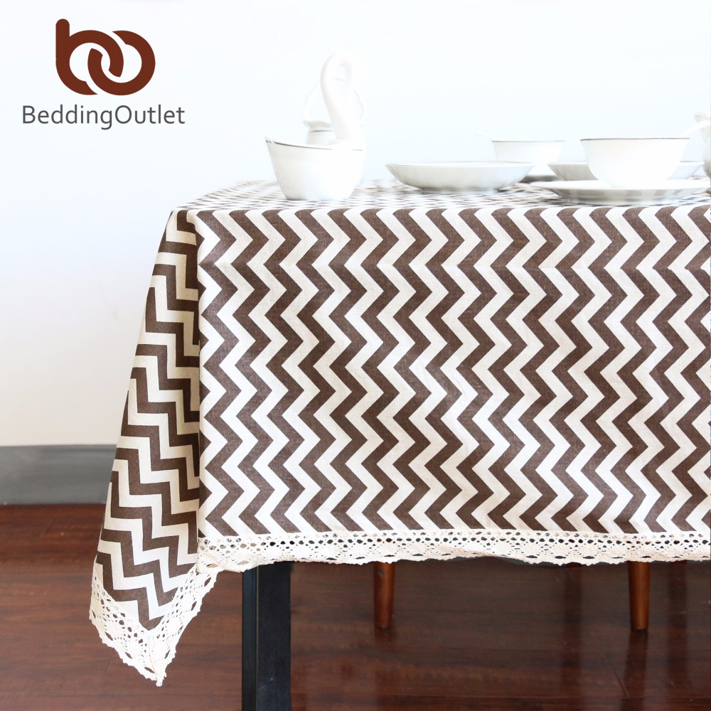 Beddingoutlet brown wavy tablecloth cotton linen dinner for Html table lines