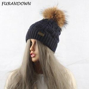FURANDOWN Female Wool Knitting Headwear Beanie Winter Raccoon Fur Pompom Hat For Women Beanies Skullies