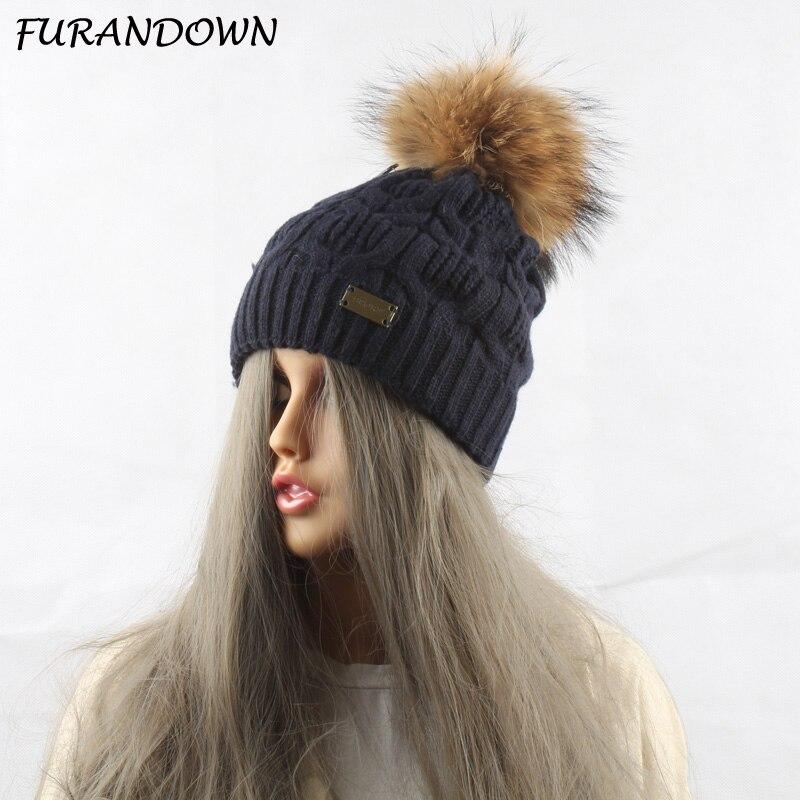 FURANDOWN Dámská vlněná pletená pokrývka hlavy Čepice Zimní mýval s kožešinami Pompom Hat pro ženy Čepice lebky